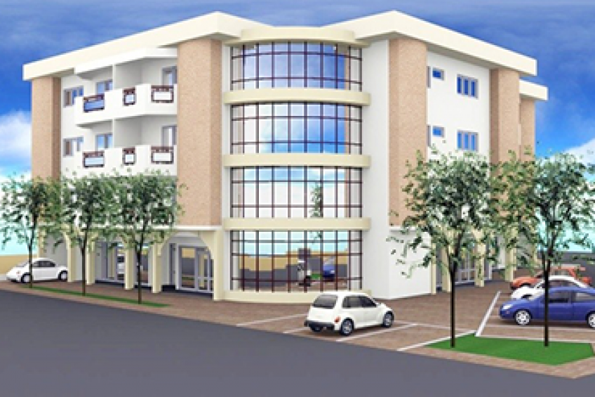 Four-storey building for office space and residential use